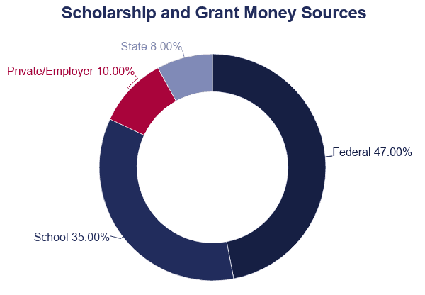 Pie Chart: Scholarship and Grand Money Sources
