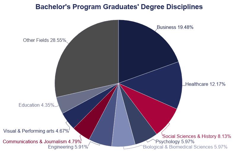 Pie Chart: Bachelor's Program Graduates Degree Disciplines
