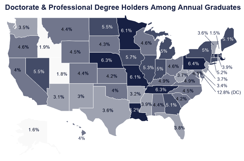 National Map of Doctorate and Professional Degree Holders Among Annual Graduates by State