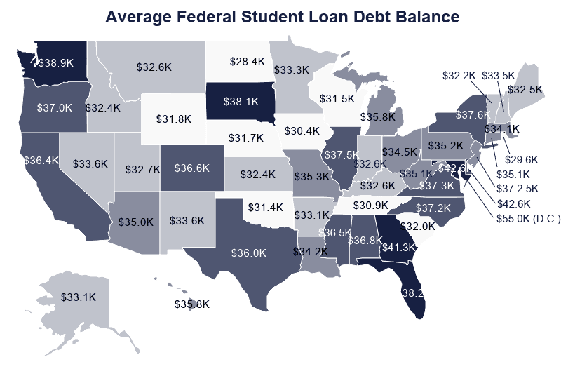 National Map: Average Federal Student Loan Debt by State